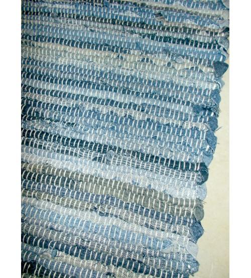 Farmer rongyszőnyeg kék, szürke, barna 75 x 145 cm