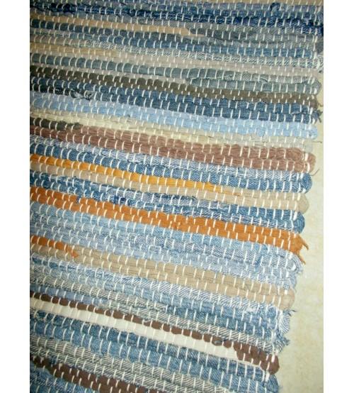 Farmer rongyszőnyeg kék, barna 70 x 200 cm