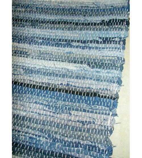 Farmer rongyszőnyeg kék, fekete 70 x 200 cm