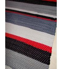 Fonal rongyszőnyeg szürke, kék, piros 70 x 160 cm