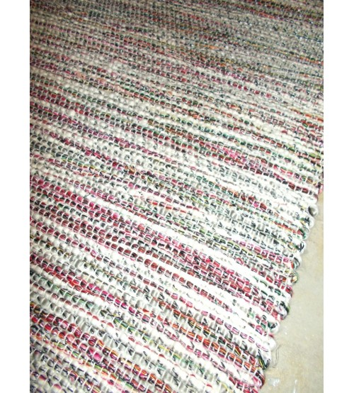 Fonal rongyszőnyeg piros, szürke 75 x 150 cm