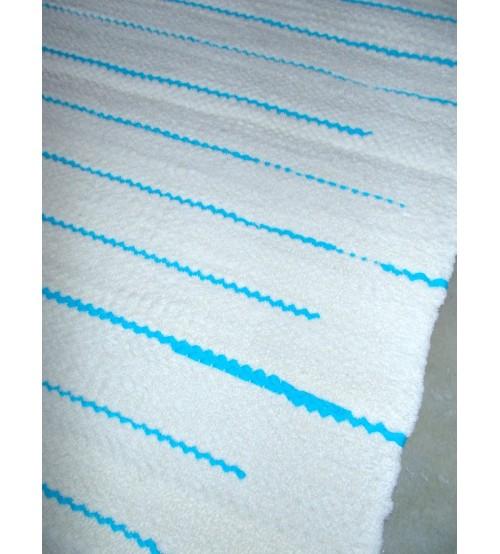 Frottír rongyszőnyeg nyers, kék 70 x 150 cm