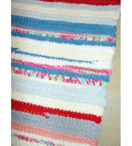 Frottír rongyszőnyeg piros, kék, fehér 70 x 100 cm