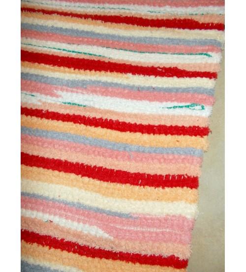 Frottír rongyszőnyeg piros, sárga, fehér 70 x 110 cm