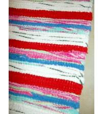 Frottír rongyszőnyeg fehér, piros, kék 70 x 100 cm