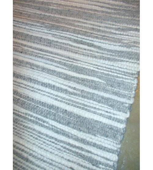Gyapjúfilc rongyszőnyeg szürke, fehér 70 x 150 cm