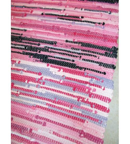 Hagyományos rongyszőnyeg rózsaszín, fekete 55 x 165 cm