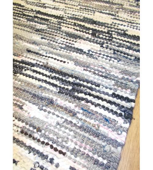 Hagyományos rongyszőnyeg szürke, kék, fehér 65 x 110 cm