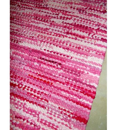 Hagyományos rongyszőnyeg rózsaszín 80 x 165 cm