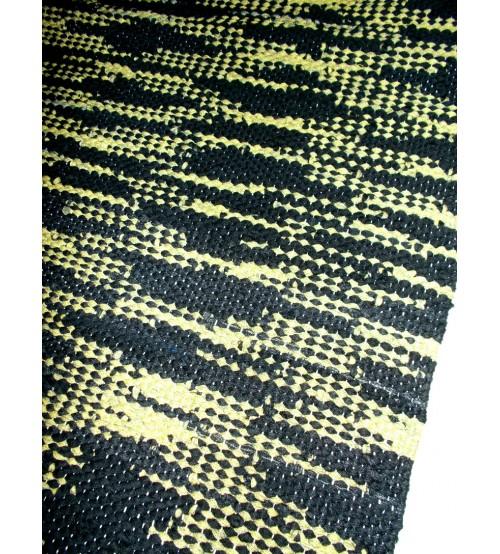 Hagyományos rongyszőnyeg fekete, zöld 60 x 200 cm