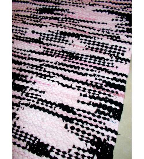 Hagyományos rongyszőnyeg rózsaszín, fekete 60 x 80 cm