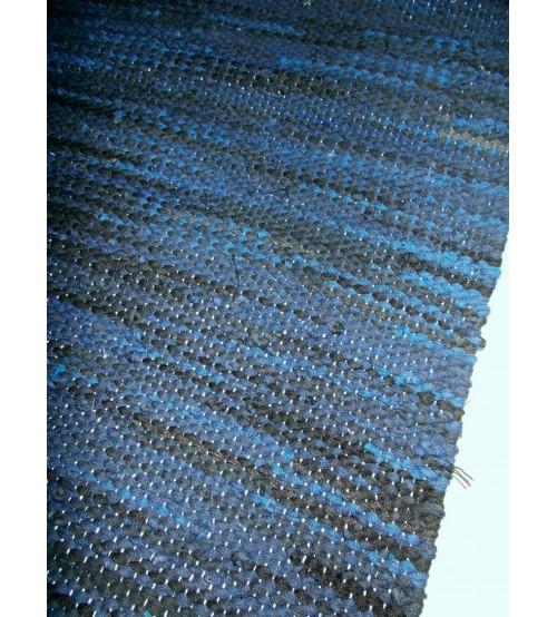 Hagyományos rongyszőnyeg kék, fekete 60 x 80 cm