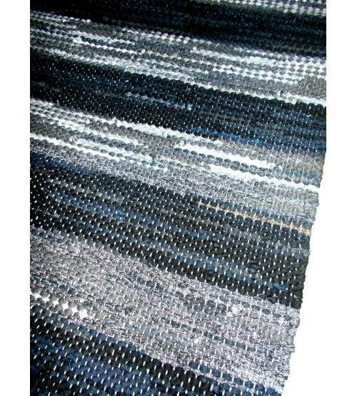 Hagyományos rongyszőnyeg kék, fekete, szürke 60 x 195 cm