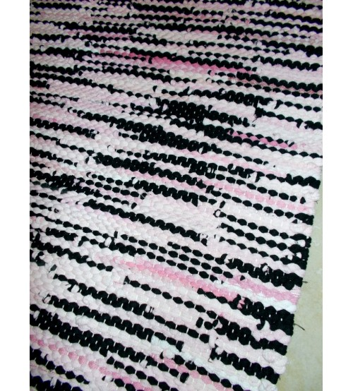 Hagyományos rongyszőnyeg rózsaszín, fekete 60 x 75 cm