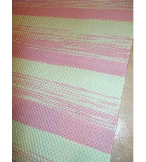 Póló rongyszőnyeg rózsaszín, zöld 70 x 100 cm