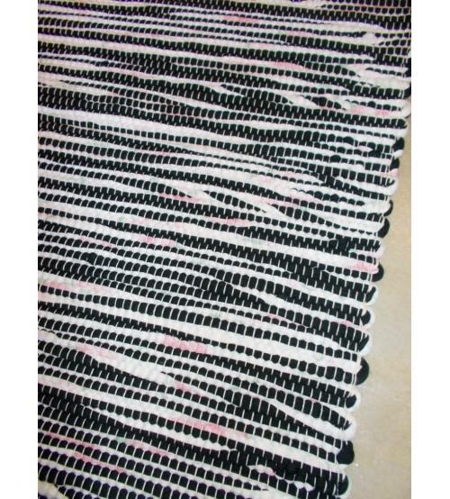 Póló rongyszőnyeg fekete, fehér, rózsaszín 90 x 175 cm