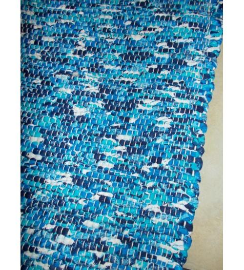 Póló rongyszőnyeg kék, fehér 70 x 100 cm