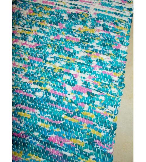 Póló rongyszőnyeg kék, fehér, sárga, rózsaszín 70 x 100 cm