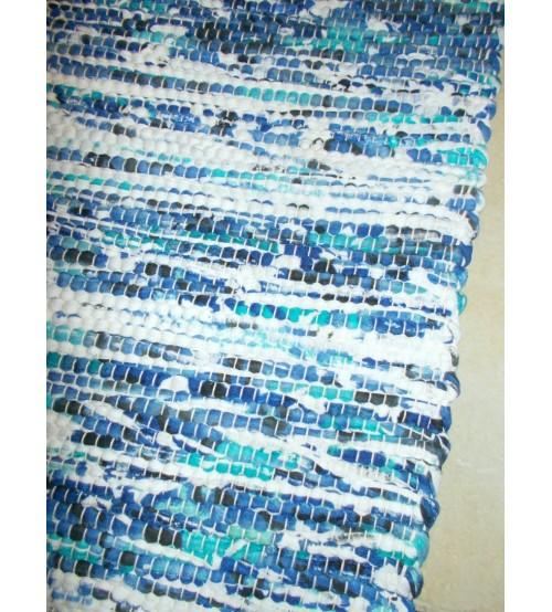 Póló rongyszőnyeg fehér, kék, lila 70 x 100 cm