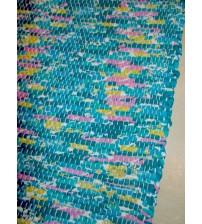 Póló rongyszőnyeg kék, sárga, rózsaszín 70 x 150 cm