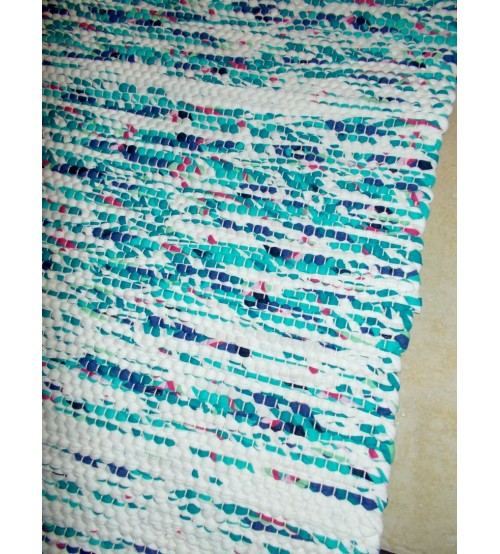 Póló rongyszőnyeg fehér, kék, piros 70 x 200 cm