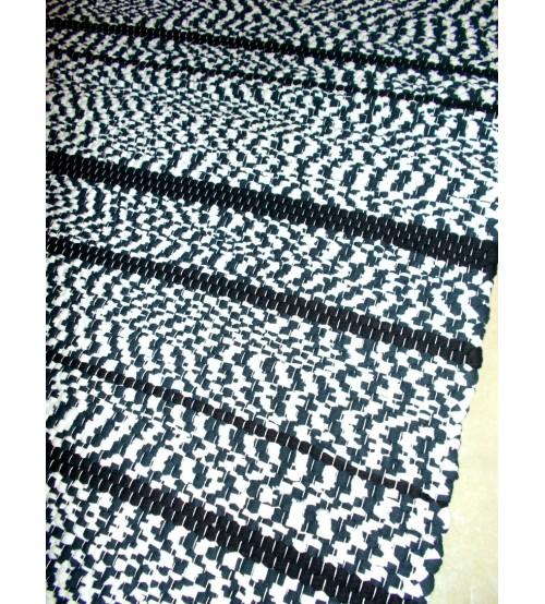 Póló rongyszőnyeg kék, fehér, fekete 70 x 200 cm