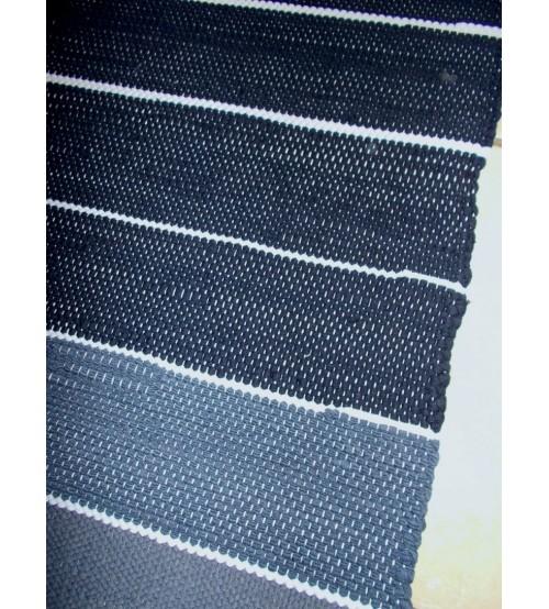 Pamut rongyszőnyeg kék 85 x 160 cm