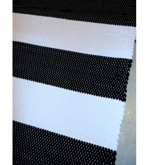 Pamut rongyszőnyeg fekete, fehér 155 x 205 cm