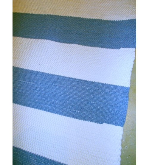 Pamut rongyszőnyeg kék, fehér 160 x 215 cm