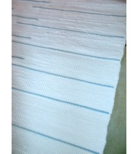 Pamut rongyszőnyeg fehér, kék 75 x 205 cm