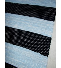 Pamut rongyszőnyeg kék, fekete 160 x 200 cm