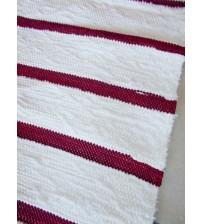 Pamut rongyszőnyeg fehér, bordó 155 x 195 cm