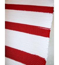 Pamut rongyszőnyeg fehér, piros 80 x 160 cm