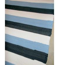 Pamut rongyszőnyeg kék, fehér, szürke 80 x 135 cm