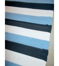 Pamut rongyszőnyeg kék, fehér, szürke 80 x 165 cm