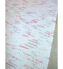Pamut rongyszőnyeg fehér, rózsaszín 80 x 185 cm