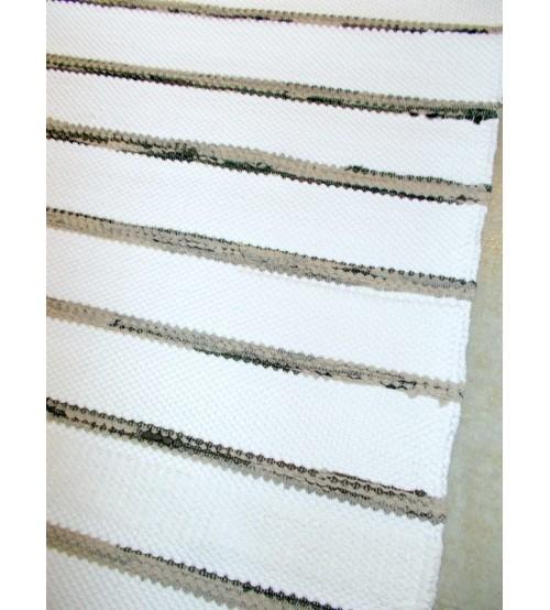 Pamut rongyszőnyeg fehér, barna 70 x 190 cm