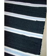 Pamut rongyszőnyeg fekete, fehér, kék 85 x 160 cm