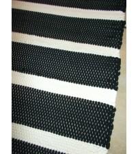 Pamut rongyszőnyeg fekete, fehér 90 x 175 cm