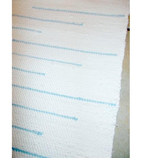 Pamut rongyszőnyeg fehér, kék 50 x 145 cm