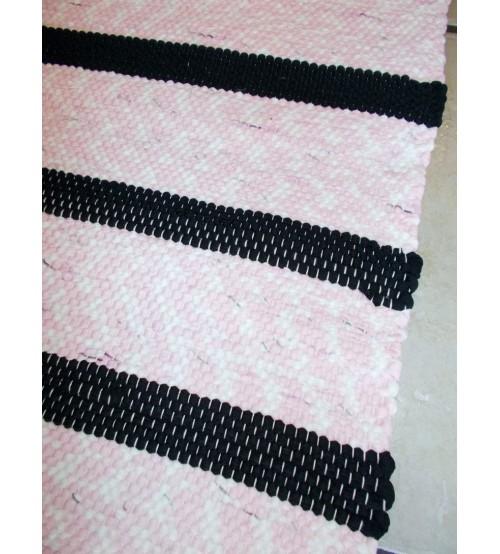 Pamut rongyszőnyeg rózsaszín, fekete 65 x 355 cm