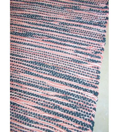 Pamut rongyszőnyeg rózsaszín, kék, fehér 80 x 315 cm