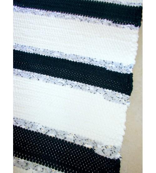 Pamut rongyszőnyeg fekete, kék, nyers 160 x 200 cm