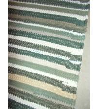 Pamut rongyszőnyeg zöld, barna, nyers 75 x 115 cm