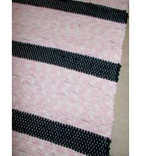 Pamut rongyszőnyeg rózsaszín, nyers, fekete 155 x 195 cm