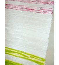 Pamut rongyszőnyeg nyers, barna, rózsaszín, zöld 80 x 220 cm