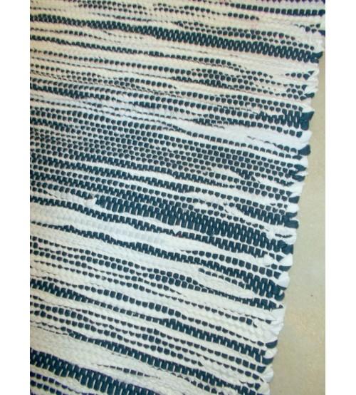 Pamut rongyszőnyeg kék, fehér, nyers 80 x 80 cm