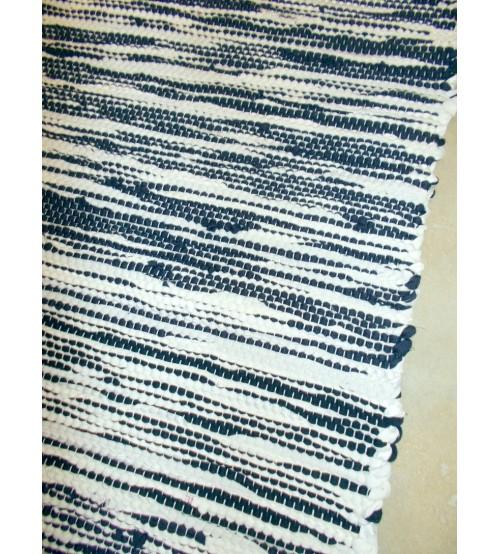 Pamut rongyszőnyeg kék, nyers 80 x 85 cm