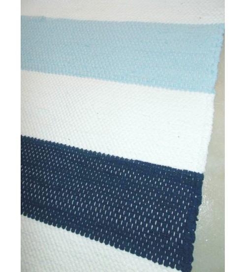 Pamut rongyszőnyeg kék, fehér 160 x 185 cm