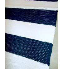 Pamut rongyszőnyeg kék, fehér 160 x 195 cm
